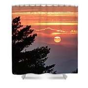 Sun Through The Clouds And Trees Sunset At The Mountains Shower Curtain
