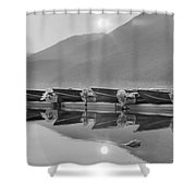 Sun Through The Smoke At Mcdonald Black And White Shower Curtain
