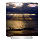 Sunbeams Radiating Through Clouds Before Sunset Shower Curtain