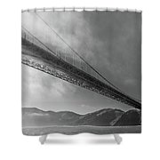 Sunbeams Through The Golden Gate Black And White Shower Curtain