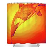 Sunburst Orca Shower Curtain