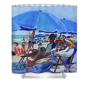 Sunday Beach Blues Shower Curtain
