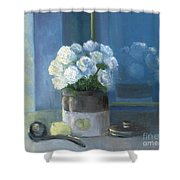Sunday Morning And Roses - Blue Shower Curtain