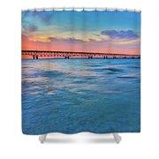 Sundown At Mackinac Bridge Shower Curtain