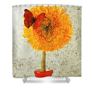 Sunflower And Red Butterfly Shower Curtain