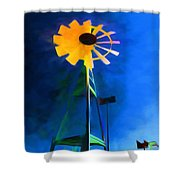 Sunflower And The Wind Spirit Shower Curtain