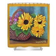 Sunflower Basket Shower Curtain