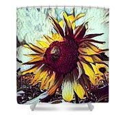 Sunflower In Deep Tones Shower Curtain
