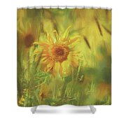 Sunflower In The Wind Painting Shower Curtain