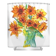 Sunflower Medley II Watercolor Painting By Kmcelwaine Shower Curtain