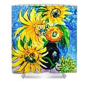 Sunflower On Black Vase Shower Curtain