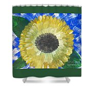 Sunflower On Blue  Shower Curtain