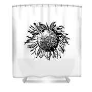 Sunflower Silhouette Shower Curtain