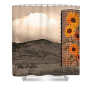 Sunflower Silo In Boulder County Colorado Sepia Color Print Shower Curtain