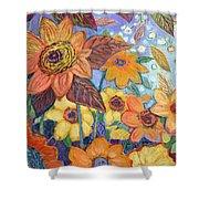 Sunflower Tropics Part 1 Shower Curtain