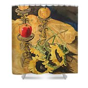 Sunflowers And Apples Shower Curtain