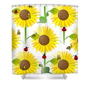 Sunflowers And Bees Shower Curtain