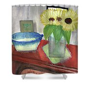 Sunflowers And Blue Bowls Shower Curtain