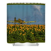 Sunflowers And Crop Duster Shower Curtain