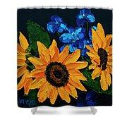 Sunflowers And Delphinium Shower Curtain
