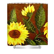 Sunflowers And Dewdrops Shower Curtain