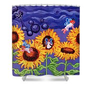 Sunflowers And Faeries Shower Curtain