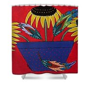Sunflowers And Feathers Shower Curtain