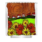 Sunflowers And Fields Shower Curtain