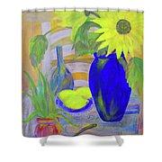 Sunflowers And Lemons Shower Curtain