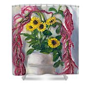 Sunflowers And Love Lies Bleeding Shower Curtain