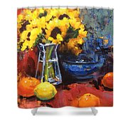 Sunflowers And Oranges Shower Curtain