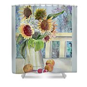 Sunflowers And Peaches Shower Curtain