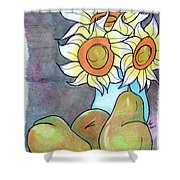 Sunflowers And Pears Shower Curtain