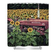 Sunflowers And Tractor Shower Curtain