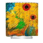 Sunflowers By The Lake Shower Curtain