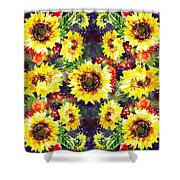 Sunflowers Impressionism Pattern Shower Curtain
