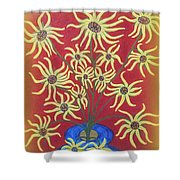 Sunflowers In A Blue Vase Shower Curtain