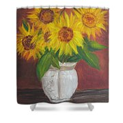 Sunflowers In A Clay Pot Shower Curtain
