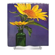 Sunflowers In A Green Bottle Shower Curtain