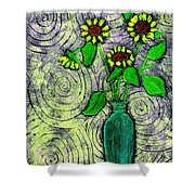 Sunflowers In A Green Vase Shower Curtain