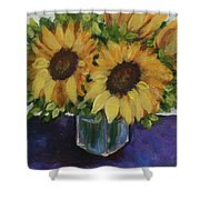 Sunflowers In A Square Vase Shower Curtain