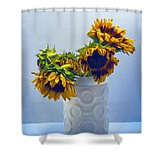 Sunflowers In Circle Vase Blue Tournesols Shower Curtain