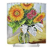Sunflowers In Glass Vase Shower Curtain
