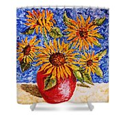 Sunflowers In Red Vase. Shower Curtain