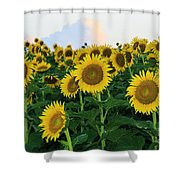 Sunflowers In The Clouds Shower Curtain