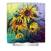Sunflowers In The Rain Shower Curtain