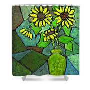Sunflowers In Vase Green Shower Curtain