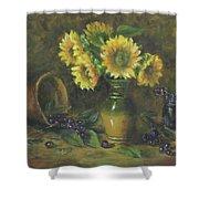 Sunflowers Shower Curtain by Katalin Luczay