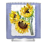 Sunflowers On Baby Blue Shower Curtain
