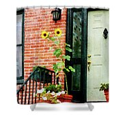Sunflowers On Stoop Shower Curtain